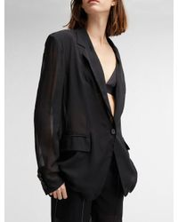 DKNY Black Sheer Notch Collar Jacket