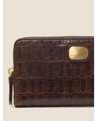 DKNY Brown Croc-embossed Leather Large Zip Around Wallet