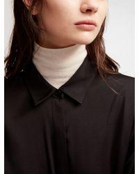 DKNY - Black Stretch Silk Button Down - Lyst