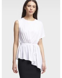 DKNY White Asymmetrical Top With Side Ruching