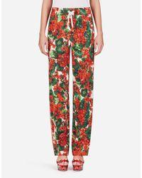 Pantaloni Jogging In Cady Stampa Portofino di Dolce & Gabbana in Red