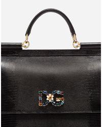 Sac À Main Sicily En Cuir De Veau Imprimé Iguane Et Écusson Logo Dg Et Cristaux Dolce & Gabbana en coloris Black