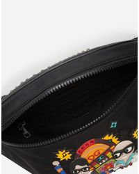 Dolce & Gabbana Black Sicilia Dna Fanny Pack In Nylon With Stylist Jukebox Patch for men