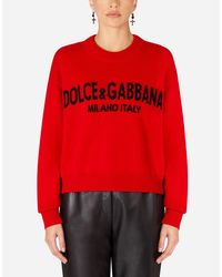 Dolce & Gabbana Red Cashmere Sweater With Logo Intarsia