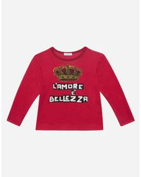 Dolce & Gabbana Bedrucktes T-Shirt Aus Baumwolle in Red für Herren
