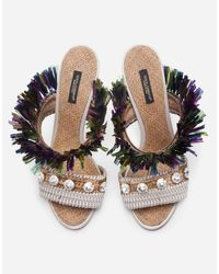Dolce & Gabbana Green Mules In Straw With Bejeweled Embroidery
