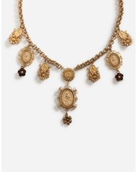 Dolce & Gabbana Metallic Kurze Halskette Mit Zierelementen