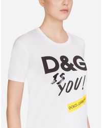 Dolce & Gabbana White Bedrucktes T-Shirt Aus Baumwolle