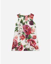 Dolce & Gabbana Multicolor A-line Dress In Printed Brocade