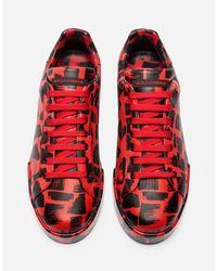 Dolce & Gabbana Red Portofino Sneakers In Printed Calfskin for men