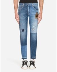 Dolce & Gabbana Blue Gold Fit Stretch Jeans With Patch for men