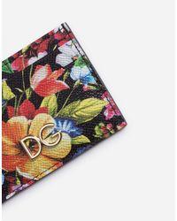 Dolce & Gabbana Multicolor Kreditkartenetui Aus Bedrucktem Dauphine-Kalbsleder Mit Logo