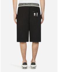 Dolce & Gabbana Bermuda-Jogginghose Aus Baumwolle Mit Patch Dg Family in Black für Herren