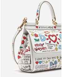 Dolce & Gabbana White Small Sicily Bag In Printed Dauphine Calfskin