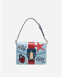 Dolce & Gabbana Blue Lucia Shoulder Bag In Printed Calfskin With Embroidery