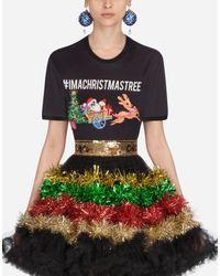 T-Shirt In Cotone Stampata di Dolce & Gabbana in Black