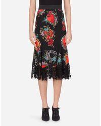 Dolce & Gabbana Black Midirock Aus Seide Mit Herzen- Und Rosen-Print