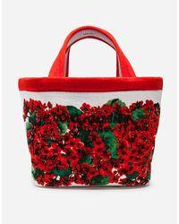 Dolce & Gabbana Red Grosser Escape Shopper Aus Frottee Portofino-Print