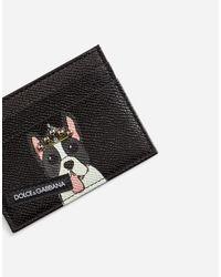 Dolce & Gabbana - Black Credit Card Holder In Printed Dauphine Calfskin for Men - Lyst