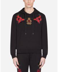 Sudadera De Algodón Con Capucha Y Parche De Flores Dolce & Gabbana de hombre de color Black