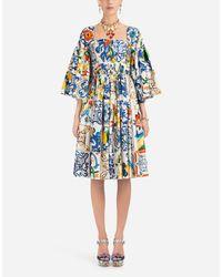 Abito In Cotone Stampa Maiolica di Dolce & Gabbana in Blue