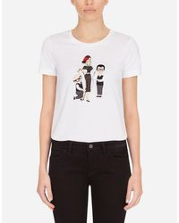 Dolce & Gabbana White Jersey T-Shirt With Dg Family Print