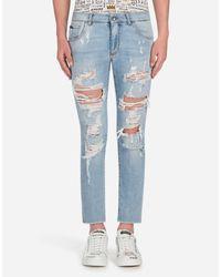 Dolce & Gabbana Blue Ripped Jeans In Comfort Denim for men