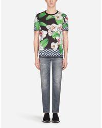 Dolce & Gabbana T-Shirt Aus Baumwolle Orchideen-Print in Green für Herren