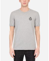 Dolce & Gabbana T-Shirt Aus Baumwolle Dg-Stickerei in Gray für Herren