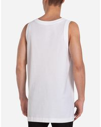 Dolce & Gabbana White Printed Cotton Tank for men