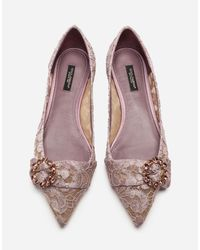 Dolce & Gabbana Pink Lace Ballet Flats With Bejeweled Detail