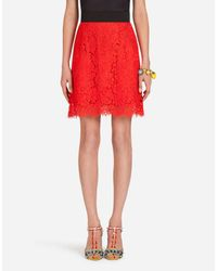 Dolce & Gabbana Red A-line Skirt In Cordonetto Lace