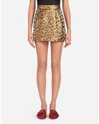 Dolce & Gabbana Multicolor Short Skirt In Lurex Jacquard