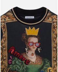 Dolce & Gabbana Multicolor Round-neck Jersey Sweatshirt With Queen Print