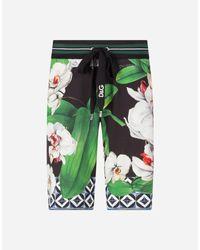 Dolce & Gabbana Joggingbermuda Aus Jersey Orchideen-Print in Green für Herren