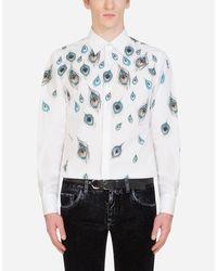 Dolce & Gabbana Feather-Print Cotton Gold-Fit Shirt in Multicolor für Herren