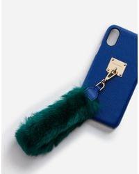 Dolce & Gabbana Blue Iphone X Cover With Rabbit Fur Bracelet Attachment