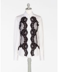 Dolce & Gabbana | White Cotton Shirt With Lace Inserts | Lyst