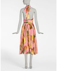 Dolce & Gabbana Multicolor Printed Chiffon Silk Dress