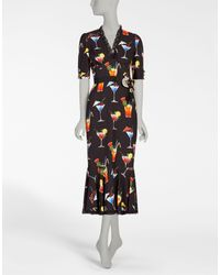 Dolce & Gabbana Multicolor Printed Sheath Dress With Jewel Details