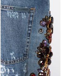 Dolce & Gabbana Blue Boyfriend Fit Jeans With Jewel Applications