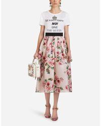 Dolce & Gabbana Pink Silk Organza Print Full Skirt