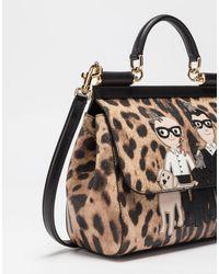 Dolce & Gabbana Multicolor Medium Sicily Handbag In Leo Crepe Leather With Dg Family Patch