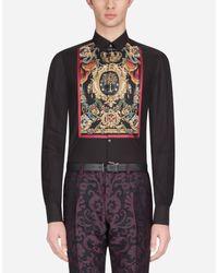 Camicia Gold In Cotone Con Plastron Stampato di Dolce & Gabbana in Black da Uomo