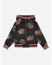 Dolce & Gabbana Jacke Mit Kapuze Aus Bedrucktem Nylon in Black für Herren