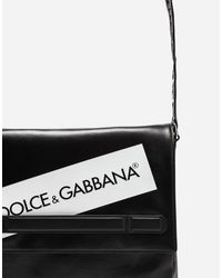 Dolce & Gabbana Black Coated Canvas Mediterraneo Messenger Bag for men