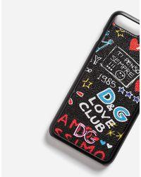 Dolce & Gabbana Black Iphone 7 Plus Cover In Printed Dauphine Calfskin Detail