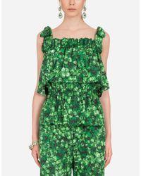 Top In Popeline Stampa Quadrifogli di Dolce & Gabbana in Green