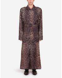 Trench Monopetto In Nylon Stampa Leopardo di Dolce & Gabbana in Multicolor da Uomo