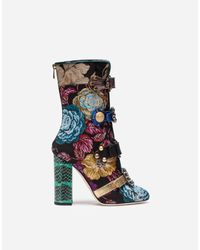 Dolce & Gabbana - Blue Jacquard Ankle Boots With Jewel Buckles - Lyst